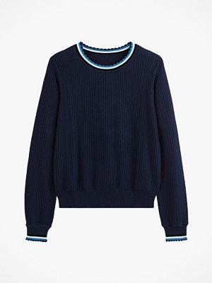 La Redoute Finstickad tröja med rund halsringning och sportiga detaljer