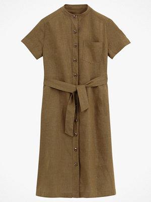 La Redoute Skjortklänning i linneblandning med ståkrage och kort ärm