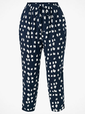 Zizzi Byxor vViga Long Pants marinblå med tryck