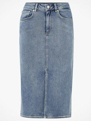 Kjolar - Selected Femme Jeanskjol slfLana HW Hush Blue Denim Skirt EX