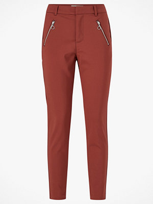 Vero Moda Byxor vmVictoria MR Antifit O-ring Zip Pant mörkröda