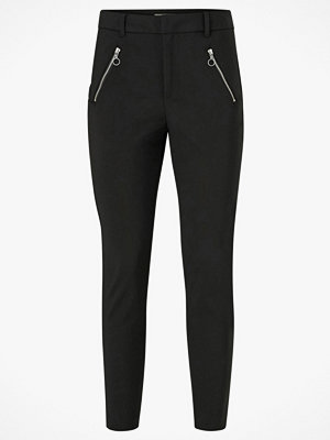 Vero Moda Byxor vmVictoria MR Antifit O-ring Zip Pant svarta