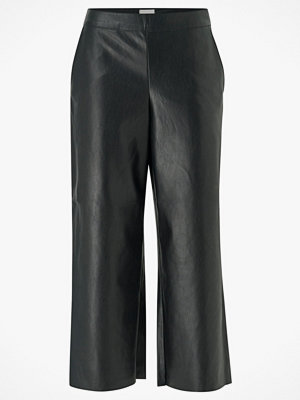 Vila Byxor viPen RW Cropped Wide Pants svarta