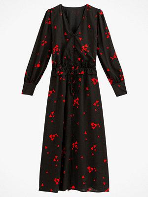 La Redoute Lång, mönstrad klänning med V-ringning och lång ärm