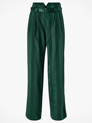 Y.a.s Byxor yasAudrey HW Wide Pants mörkgröna randiga