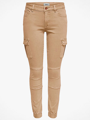 Only Byxor onlMissouri Reg Ankle Cargo Pant Skinny beige