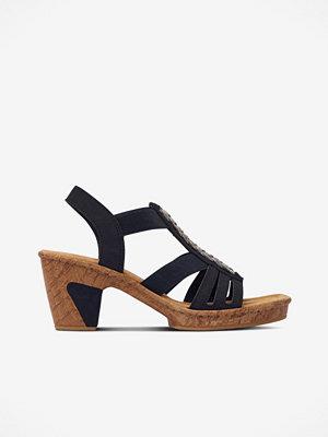 Sandaler & sandaletter - Rieker Sandalett med träliknande klack och sula