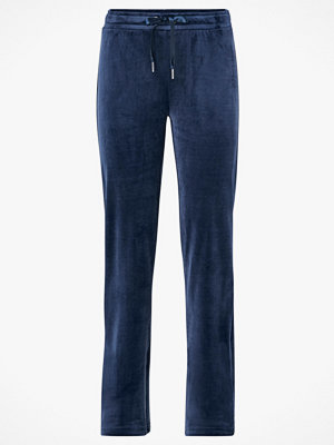 Gina Tricot Velourbyxor Cecilia Velour Trousers marinblå