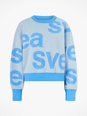 Svea Sweatshirt W. Flockprint Crew Neck