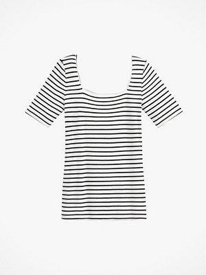 La Redoute Randig tröja med kantig halsringning och kort ärm