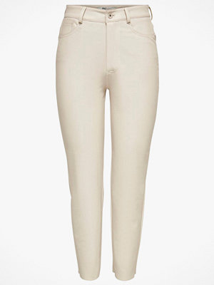 Only vita byxor Jeans onlEmily HW ST Ank Faux Leather Pant