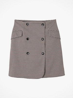 La Redoute Kort, rutig kjol med dubbelknäppning