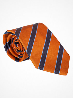 Slipsar - Amanda Christensen Striped Tie 8 cm Orange/Navy/Sky