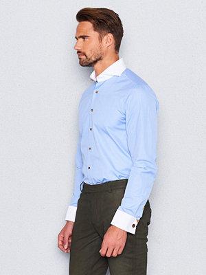 Skjortor - Castor Pollux Narcissus Shirt Double Cuff Blue/White Fil A Fil