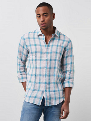 Skjortor - Velour by Nostalgi Standard Plaid Shirt Pink Plaid