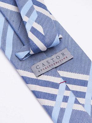 Slipsar - Castor by Castor Pollux Croatus Tie Big Check Indigo Cream