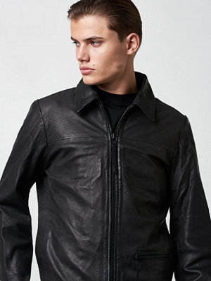 Skinnjackor - Lavage Foncé Leather Jacket Black