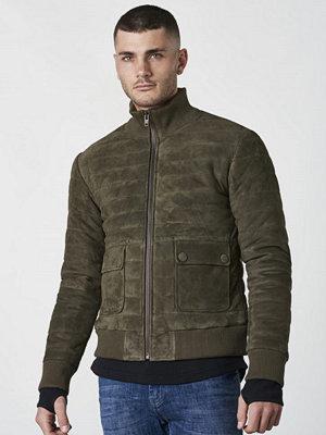 Skinnjackor - Castor by Castor Pollux Bombarus Suede Jacket Military Green