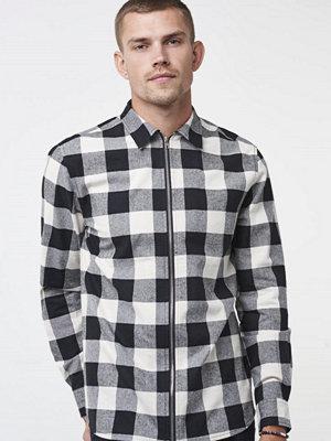 Skjortor - William Baxter Jack Zip Shirt Black/white check