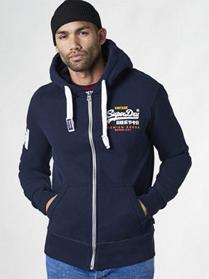 Street & luvtröjor - Superdry Premium Goods Zip Hood Stadium Navy
