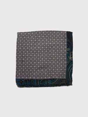 Slipsar - Castor Pollux Panni 2-faced Hankie Green/Grey Wool