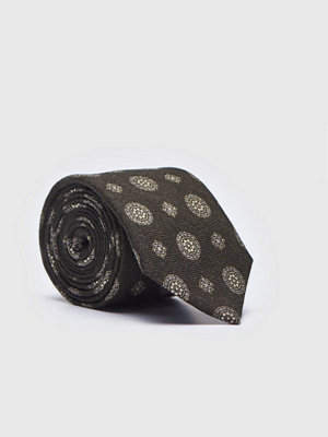 Slipsar - Castor Pollux Croatus Tie Dk Green Printed Flanell