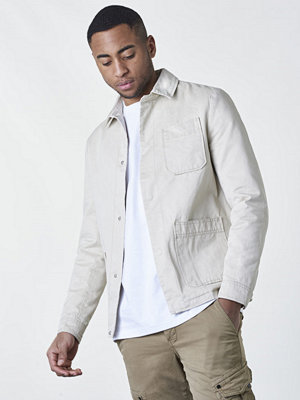 Knowledge Cotton Apparel Twill Shirt Jacket Lt Feather Grey