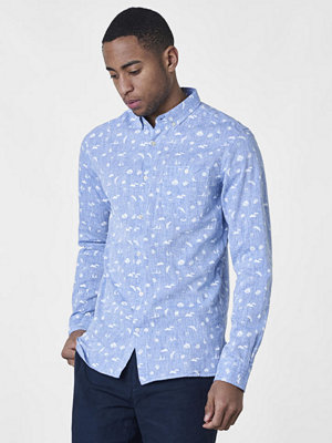 Knowledge Cotton Apparel Small All Over Print Cotton/Linen Shirt Skyway