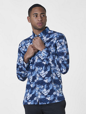 Knowledge Cotton Apparel All Over Printed Cotton/Linen Shirt Total Eclipse