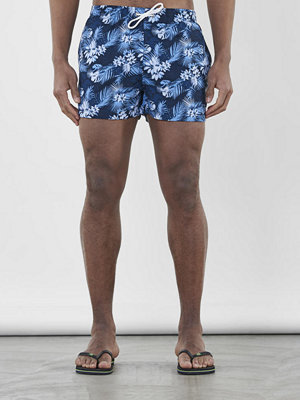 Badkläder - Knowledge Cotton Apparel All Over Palm Print Swimshorts Total Eclipse