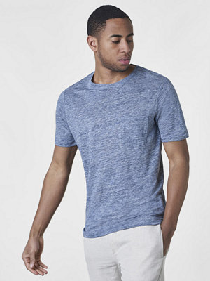 Knowledge Cotton Apparel Single Jersey Linen T-shirt Insignia Blue