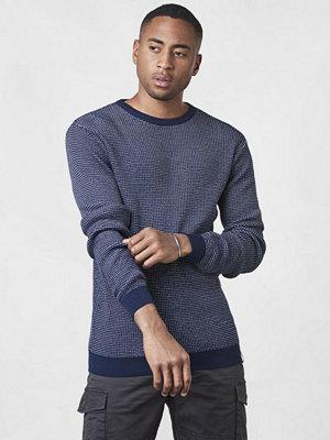 Tröjor & cardigans - Knowledge Cotton Apparel Two Color O-neck Knit Total Eclipse