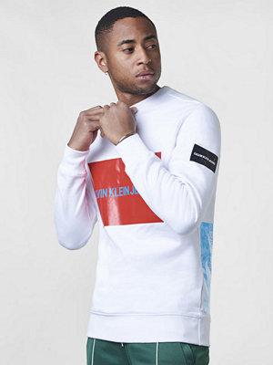 Calvin Klein Jeans Multi Logo Fleece Sweatshirt 901 White / Tomato