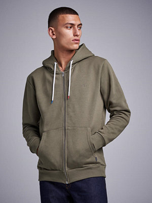 Street & luvtröjor - Les Deux French Zip Hoodie Stonegray