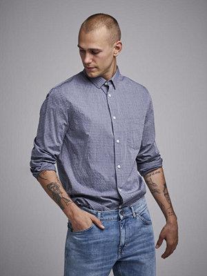 Skjortor - Filippa K Tim Washed Check Shirt Navy/White check