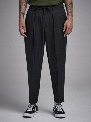 Byxor - Ljung by Marcus Larsson Drop Crotch Drawstring Trousers Grey Melange