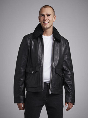 Calvin Klein Jeans Aviator Leather Jacket 099 Black