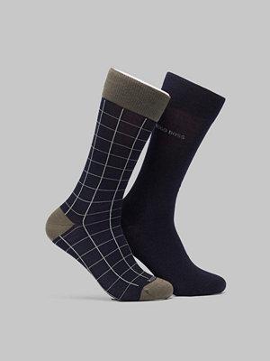 Strumpor - BOSS 2-pack Merino Check Socks 401 Navy
