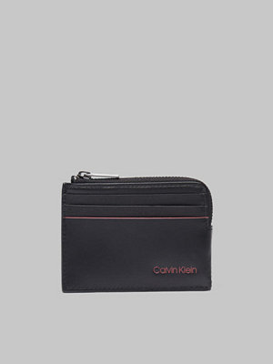 Plånböcker - Calvin Klein Double Edge Cardholder w Zip 910 Black/Navy/Rose