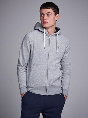 Street & luvtröjor - Gant Gant Original Full Zip Sweat Hoodie Grey Melange