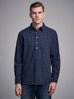 Skjortor - Resteröds Pop Over Shirt Indigo Navy Print