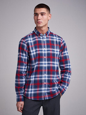 Skjortor - Tommy Hilfiger Checked Herringbone Shirt 902 Medieval Blue/Haute Red