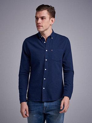 Skjortor - Lexington Peter Lt Flannel Shirt Navy Blue