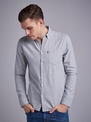 Skjortor - Lexington Peter Lt Flannel Shirt Lt Warm Gray Melange
