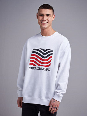 Calvin Klein Jeans Mordernist Wave Crerwneck 112 Bright White