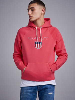 Street & luvtröjor - Gant Gant Shield Hoodie Watermelon Red