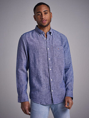 Skjortor - Gant The Linen Shirt Reg BD Persian Blue