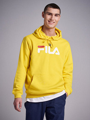 Street & luvtröjor - Fila Night Blocked Hoodie Black/Yellow