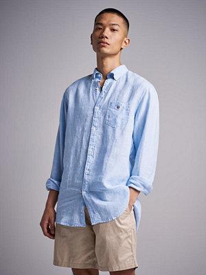Skjortor - Gant The Linen Shirt Reg BD Capri Blue