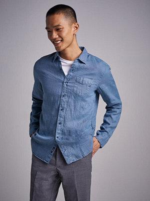 Skjortor - Replay RBJ Linnen Shirt Grey Blue